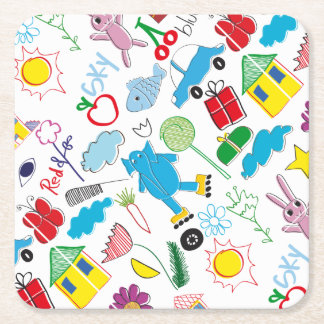 Cute Kids Doodles Pattern Party Supplies Square Paper Coaster