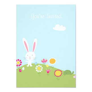Cute Kids Easter Bunny Egg Hunt Invitation