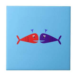 Cute kids  fishes : blue, red ceramic tile
