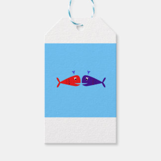 Cute kids  fishes : blue, red gift tags