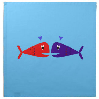 Cute kids  fishes : blue, red napkin