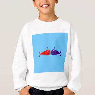 Cute kids  fishes : blue, red sweatshirt
