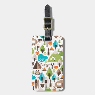 Cute kids fox camping wildlife luggage tag