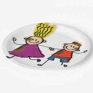 Cute Kids Friends Siblings Twins Birthday Party 9 Inch Paper Plate