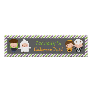 Cute Kids Halloween Costume Party Banner Poster