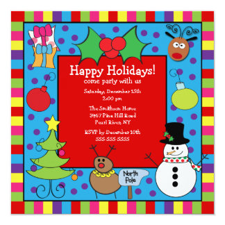 Cute Kids Holiday Party Invitation