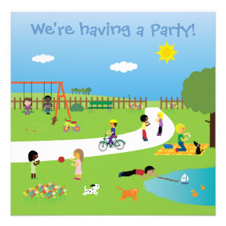 Cute kids in the park party invitations template