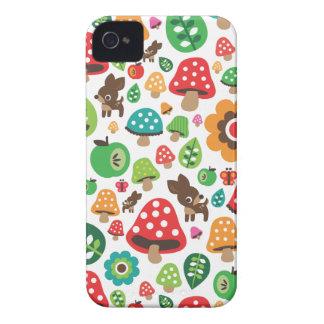 Cute kids pattern with flower leaf deer mushroom Case-Mate iPhone 4 cases