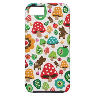 Cute kids pattern with flower leaf deer mushroom iPhone 5 cover
