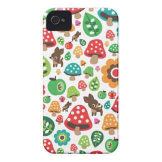 Cute kids pattern with flower leaf deer mushroom Case-Mate iPhone 4 cases