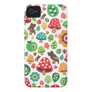 Cute kids pattern with flower leaf deer mushroom iPhone 4 Case-Mate cases