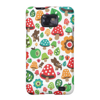 Cute kids pattern with flower leaf deer mushroom samsung galaxy s2 cases