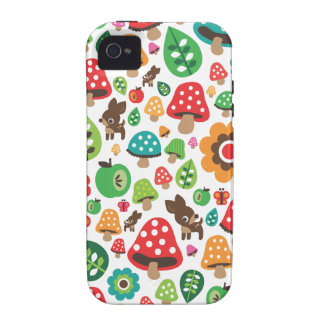 Cute kids pattern with flower leaf deer mushroom iPhone 4/4S cases