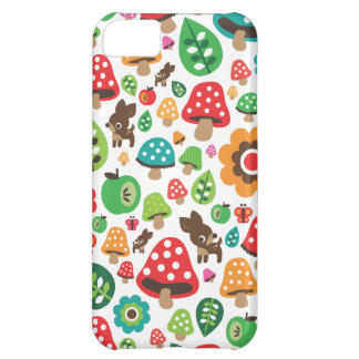 Cute kids pattern with flower leaf deer mushroom iPhone 5C cases