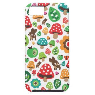 Cute kids pattern with flower leaf deer mushroom iPhone 5 cover