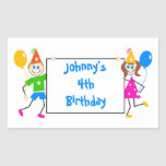 Cute Kids Personalised Birthday Party Favour Seal Rectangle Stickers