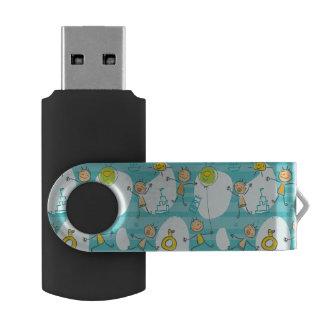Cute kids playing on the beach pattern swivel USB 2.0 flash drive