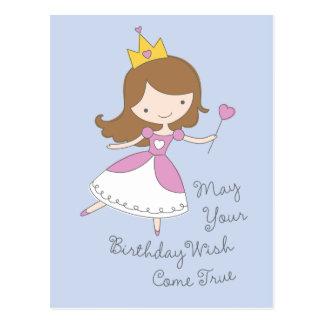 Cute Kids Princess Birthday Wish Postcards