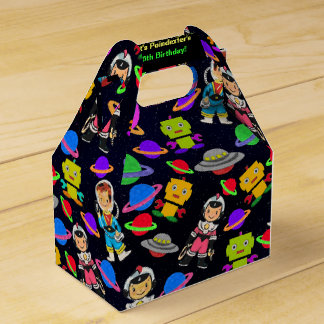 Cute Kids Retro Astronauts, Robots and Planets Favor Box
