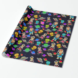 Cute Kids Retro Astronauts, Robots and Planets v2 Gift Wrapping Paper