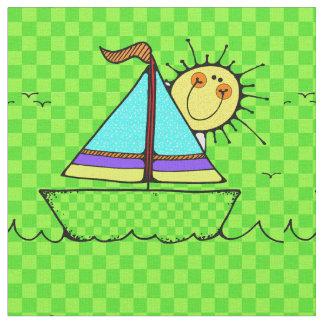 Cute Kids Sailboat Design Fabric