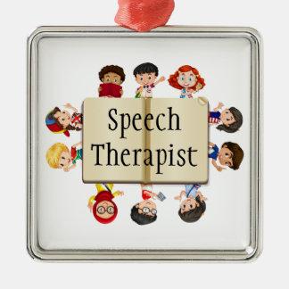 Cute Kids Speech Therapist Word Metal Ornament