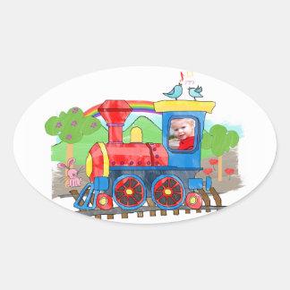 Cute kids template photo colorful steam train oval sticker