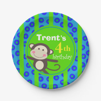 Cute Kids Toy Monkey Birthday Party | blue green Paper Plate
