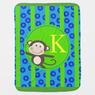 Cute Kids Toy Monkey Monogram   blue green Baby Blanket