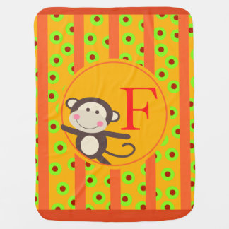 Cute Kids Toy Monkey Monogram | orange pumpkin Baby Blanket