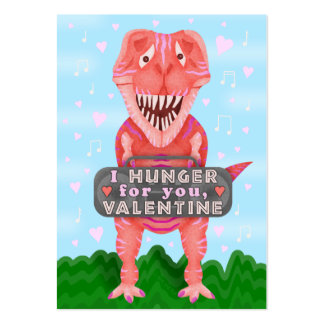 Cute Kids Valentine's Day Dinosaur T-Rex Classroom Pack Of Chubby Business Cards