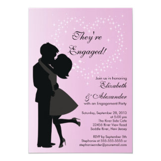 Cute Kissing Couple in Love Engagement Party Card