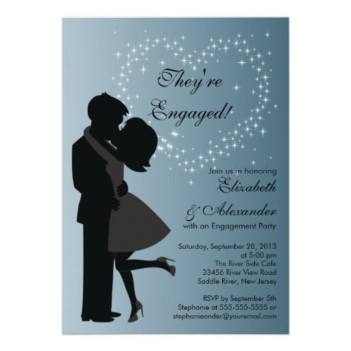 Cute Kissing Couple in Love Engagement Party Personalized Announcements