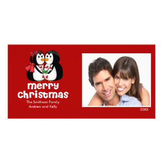CUTE Kissing Penguins Merry Christmas Photo Card