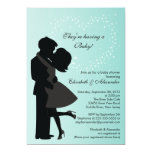 Cute Kissing Pregnant Couple in Love Baby Shower 13 Cm X 18 Cm Invitation Card