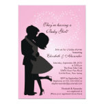 Cute Kissing Pregnant Couple in Love Baby Shower Custom Announcements