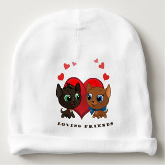 Cute kitten and kitty illustration baby beanie