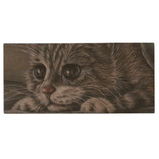 Cute Kitten Animal Drawing of Pet Portrait Cat Wood USB Flash Drive