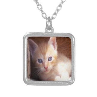 Cute Kitten Art Silver Plated Necklace