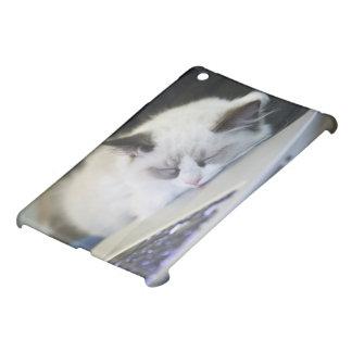 Cute Kitten Asleep on a Laptop iPad Mini Covers