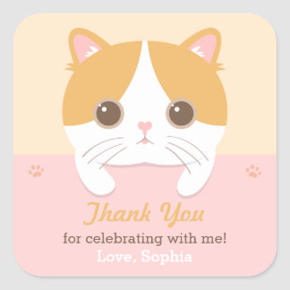 Cute Kitten Cat Thank You Birthday Party Stickers