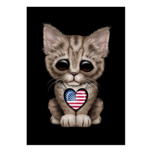 Cute Kitten Cat with American Flag Heart, black Business Cards