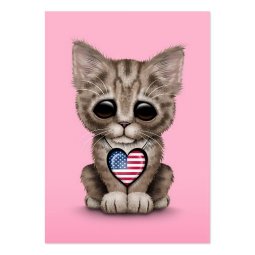 Cute Kitten Cat with American Flag Heart, pink Business Card