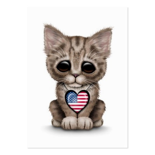 Cute Kitten Cat with American Flag Heart, white Business Card Templates