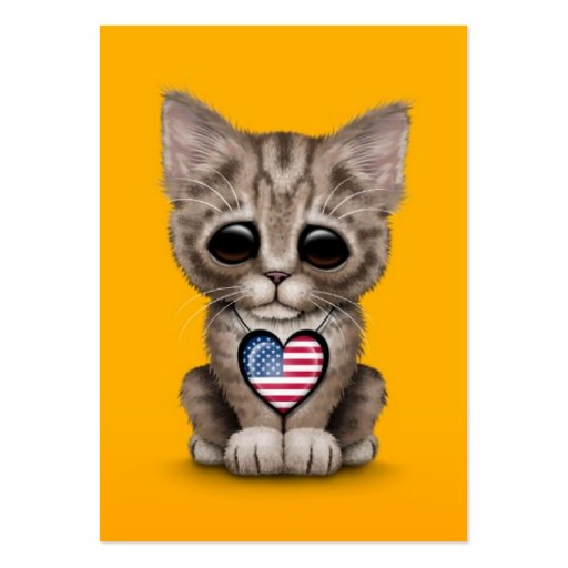 Cute Kitten Cat with American Flag Heart, yellow Business Card Templates