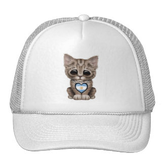 Cute Kitten Cat with Argentinian Flag Heart Trucker Hat