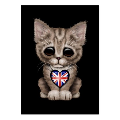 Cute Kitten Cat with British Flag Heart, black Business Card