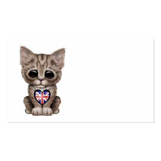 Cute Kitten Cat with British Flag Heart Business Cards