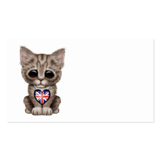 Cute Kitten Cat with British Flag Heart Pack Of Standard Business Cards