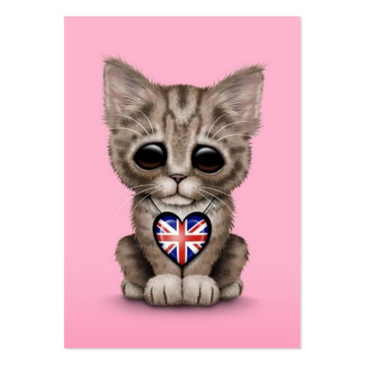 Cute Kitten Cat with British Flag Heart, pink Business Cards